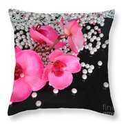 Hot Pink Orchids Throw Pillow
