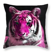 Hot Pink Tiger Throw Pillow