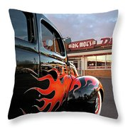 Hot Rod At The Diner At Sunset Throw Pillow