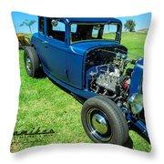 Hot Rod Blues Throw Pillow