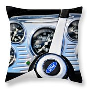 Hot Rod Ford Steering Wheel Throw Pillow