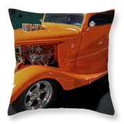 Hot Rod Orange Throw Pillow