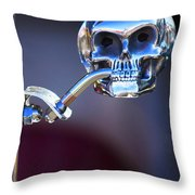 Hot Rod Skull Rear View Mirror Throw Pillow