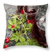 Hot Rosehip Tea In Glass Throw Pillow