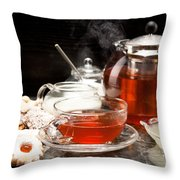 Hot Steaming Tea With Christmas Biscuits Throw Pillow