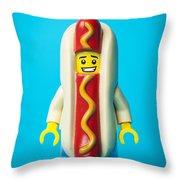Hotdog Dude Throw Pillow