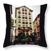 Hotel In Down Town Zurich Switzerland Throw Pillow
