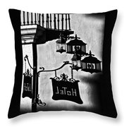 Hotel Sign - Reality And Shadow Throw Pillow