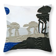 Hoth Star Wars Scene Panorama Made Using Vintage Recycled License Plates On White Wood Plank Throw Pillow