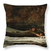 Hound And Hunter Throw Pillow by Winslow Homer