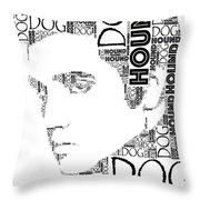 Hound Dog Elvis Wordart Throw Pillow