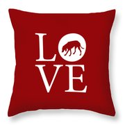 Hound Dog Love Red Throw Pillow