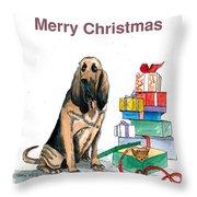 Hounddog Christmas Throw Pillow