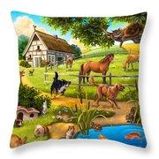House Animals Throw Pillow