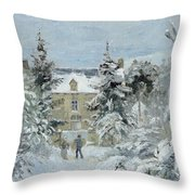 House At Montfoucault Throw Pillow by Camille Pissarro