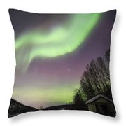 House, Aurora, Night Sky At Alaska, Fairbanks Throw Pillow