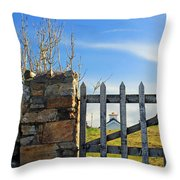 House Behind The Fence Throw Pillow