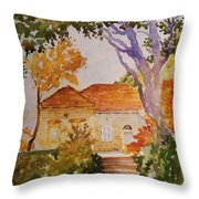 House Beside Mountain Throw Pillow