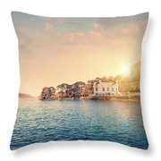 House By A Lake At Sunset Throw Pillow
