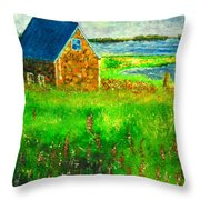 House By The Field Throw Pillow