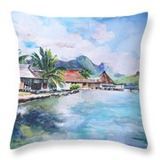 House By The Lagoon In French Polynesia Throw Pillow