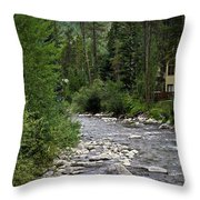 House By The Stream In Vail 1 Throw Pillow