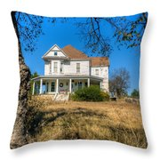 House Framed By Tree Throw Pillow