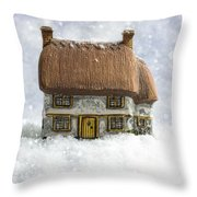 House In Snow Throw Pillow