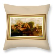 House Near The River. L A With Decorative Ornate Printed Frame. Throw Pillow
