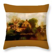 House Near The River. L B Throw Pillow