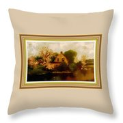 House Near The River. L B With Decorative Ornate Printed Frame. Throw Pillow