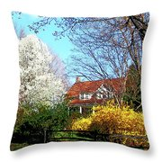 House On The Hill In Spring Throw Pillow