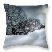 House On The Hill Winters In Vermont Throw Pillow