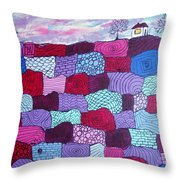 House On Top Of Patchwork Hill Throw Pillow