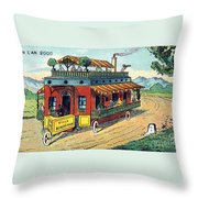 House On Wheels, 1900s French Postcard Throw Pillow