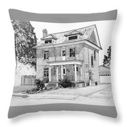 House Portrait In Ink 1 Throw Pillow