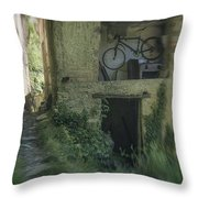 House With Bycicle Throw Pillow