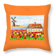 House With Tulips  In Holland Painting Throw Pillow