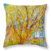 House With White Picket Fence Throw Pillow