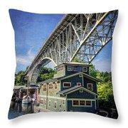 Houseboat And Aurora Bridge Seattle Throw Pillow