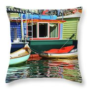 Houseboats 4 - Lake Union - Seattle Throw Pillow