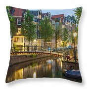 Houses Along Canal At Dusk Throw Pillow