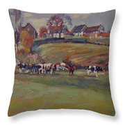 Houses And Cows In Schweiberg Throw Pillow