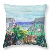 Houses At Whalehead Beach Throw Pillow