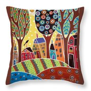 Houses Barn Landscape Throw Pillow by Karla Gerard
