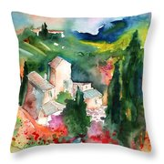 Houses In Montepulciano In Tuscany 01 Throw Pillow