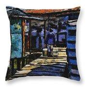 Houses In Sinamaica Lake - Venezuela Throw Pillow