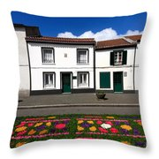 Houses In The Azores Throw Pillow
