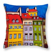 Houses In The Oldtown Of Warsaw Throw Pillow