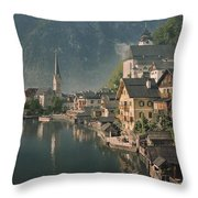 Houses Line The Lake Of Hallstatt Throw Pillow